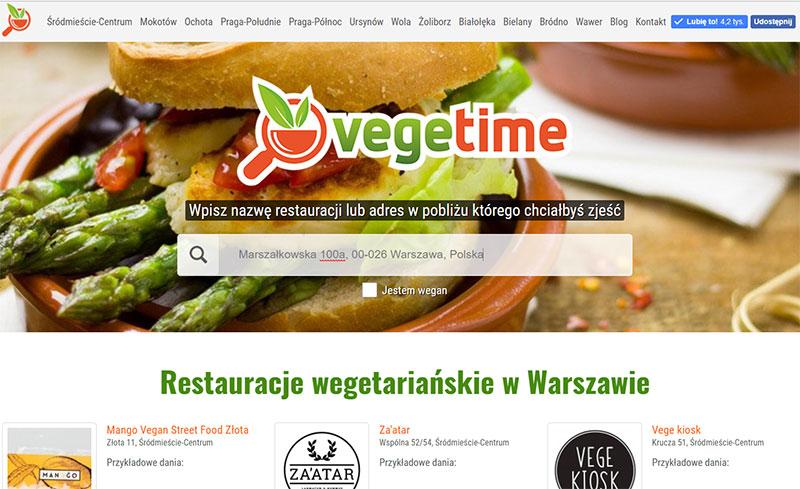 Wyszukiwarka lokali wegetariańskich